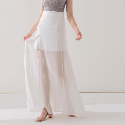 AIR SPACE 浪漫透肌開衩雪紡裙(白)