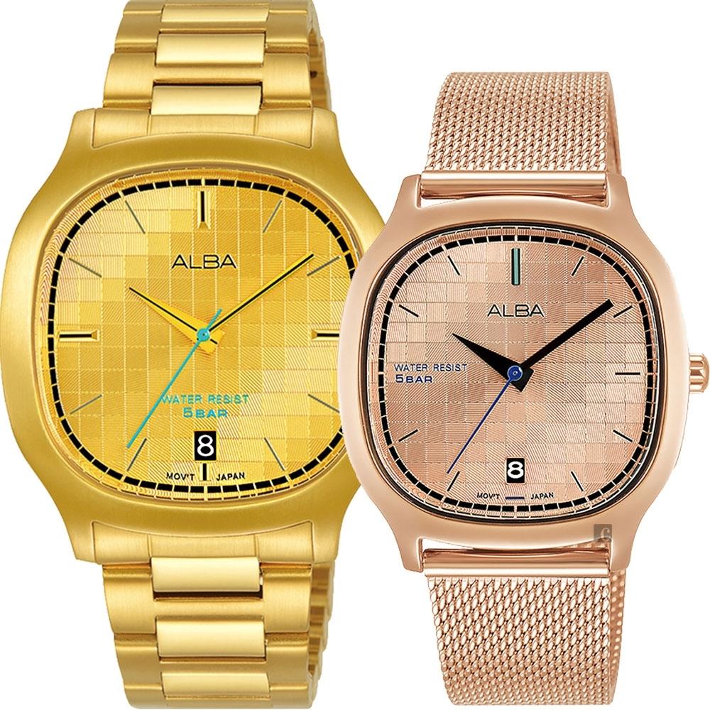 ALBA 雅柏 復古電視機 情侶手錶 對錶(AS9L72X1+AG8K96X1)