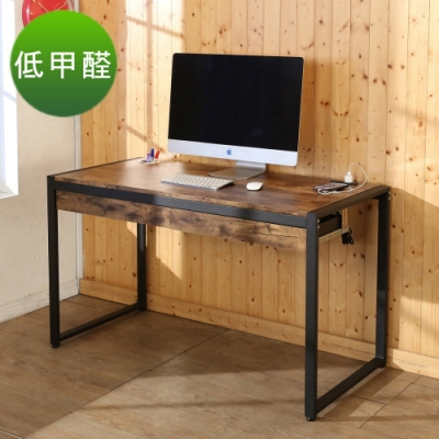 BuyJM 低甲醛工業復古雙抽屜防潑水128公分附插座筆筒工作桌128x60x77公分