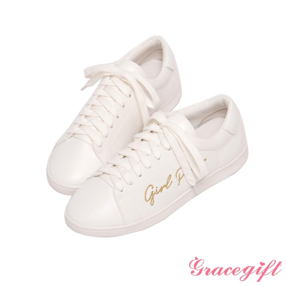 Grace gift X Annie-聯名真皮帆布拼接休閒鞋 白