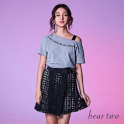 beartwo 兩件式斜肩上衣&洞洞裙洋裝(2色)