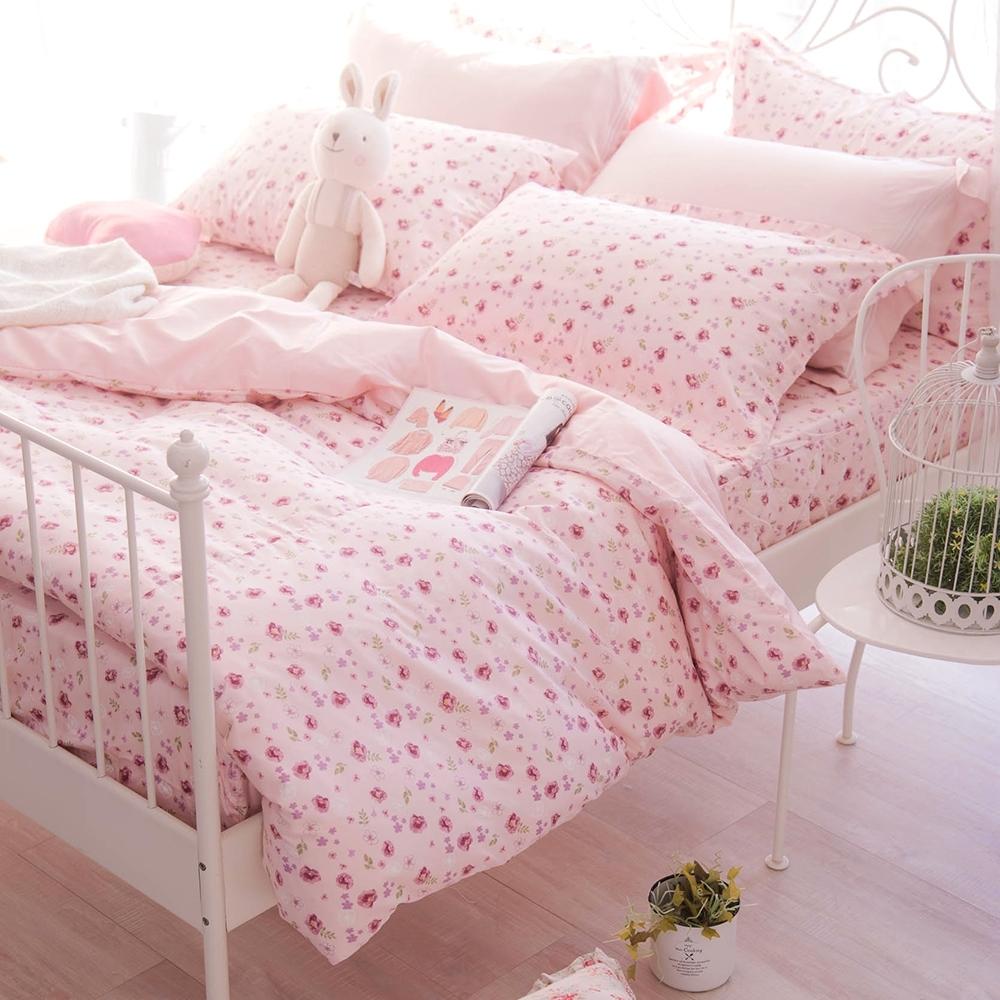 OLIVIA  花香 粉 特大雙人床包被套四件組 200織精梳純棉 台灣製