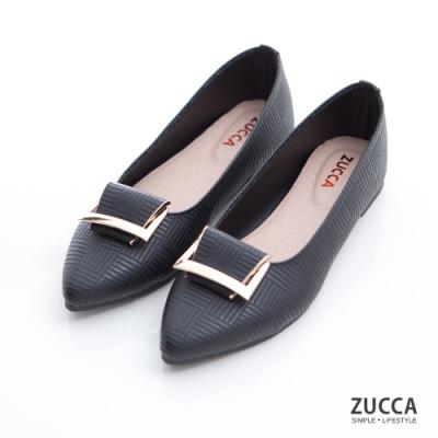 ZUCCA-金屬細紋尖頭平底鞋-黑-z6904bk