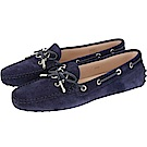TOD'S Gommino 新版字母麂皮休閒豆豆鞋(女鞋/黑夜藍)