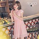 東京著衣-yoco 夏日女孩蕾絲滾邊小立領修身洋裝-S.M.L(共二色)