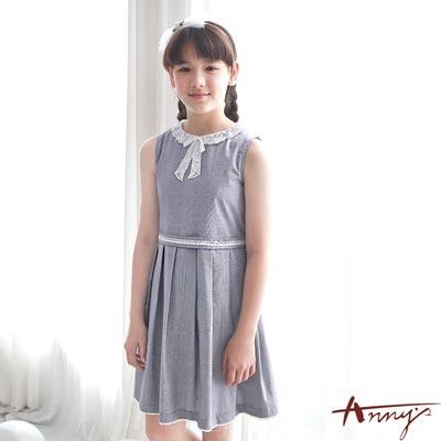 Annys氣質典雅蕾絲蝴蝶結領洋裝*7139灰