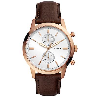 FOSSIL Townsman自信風範計時手錶(FS5468)-銀X玫瑰金/44mm