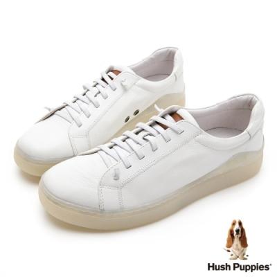 Hush Puppies 真皮厚底男板鞋-白色