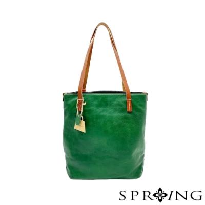 SPRING-11系列-真皮頭層牛皮手工側背包-森林綠