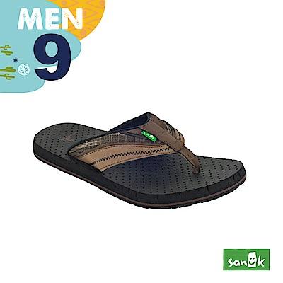 SANUK 男款US9 皮革拼接寬帶人字拖鞋(咖啡色)