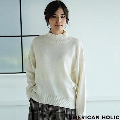 AMERICAN HOLIC MORE10月號掲載-前短後長小高領素面針織上衣