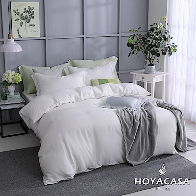 HOYACASA自由簡約 雙人四件式60支天絲被套床包組-碧砂白
