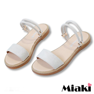 Miaki-涼鞋一字造型2穿平底拖鞋-白
