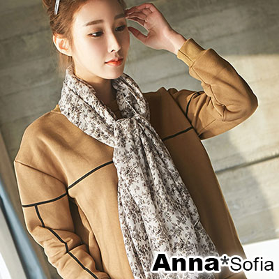 【2件450】AnnaSofia 復古小碎花 拷克邊韓國棉圍巾披肩(灰系)