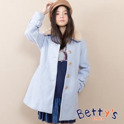 betty's貝蒂思 質感毛呢翻領排釦大衣(淺藍)
