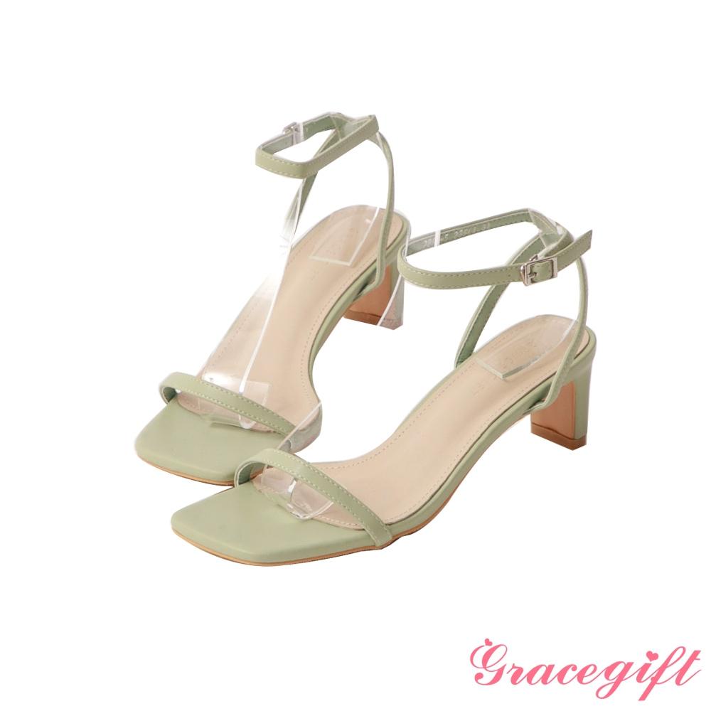 Grace gift-一字繫踝中跟涼鞋 淺綠
