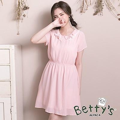 betty's貝蒂思 甜美荷葉領收腰雪紡洋裝(淺粉)
