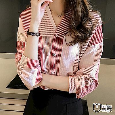 條紋V領七分袖襯衫 粉色-mini嚴選 @ Y!購物