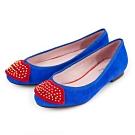 G.Ms.  羊麂皮鉚釘紅唇平底娃娃鞋-寶藍