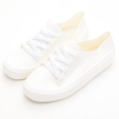 River&Moon防水鞋-晴雨二穿超Q軟繫帶運動休閒鞋-白