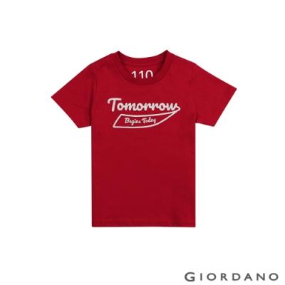 GIORDANO 童裝復古刺繡印花T恤-22 新冠軍紅