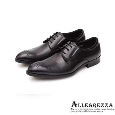 ALLEGREZZA真皮男鞋-品味展現-鞋頭雕花復古刷色德比鞋 黑色
