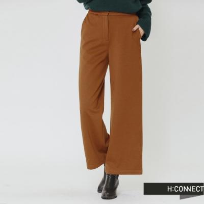 H:CONNECT 韓國品牌 女裝-俐落簡約後鬆緊寬褲-棕(快)