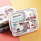 可愛韓式 304不鏽鋼四格大容量便當盒 【1入組】(雙層設計隔水加熱)圖案隨機