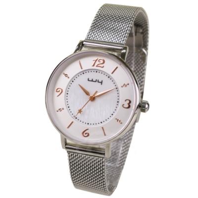 WY威亞 探索視界米蘭銀帶錶-白盤金針