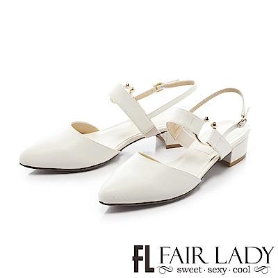 Fair Lady 尖頭設計寬版繫帶粗跟涼鞋 白