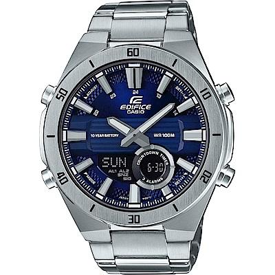 EDIFICE時尚3D立體金屬時刻設計雙顯腕錶(ERA-110D-2)藍面/47.6mm