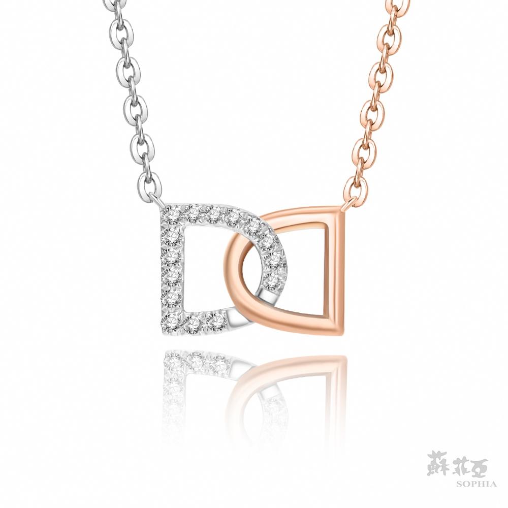 SOPHIA 蘇菲亞珠寶 - 雙D纏綿 14K雙色(玫瑰金+白金) 鑽石項鍊