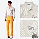 【Lynx Golf】男款吸濕排汗網眼材質不規則條紋長袖POLO衫-淺灰色 product thumbnail 2