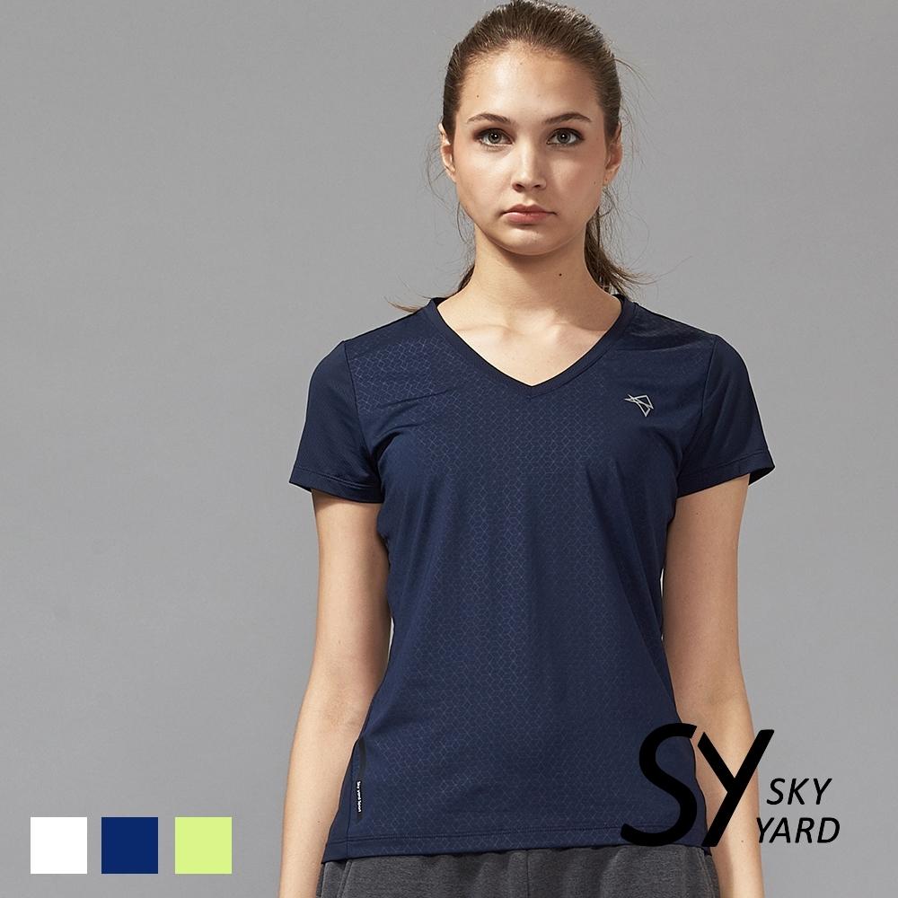 【SKY YARD 天空花園】蜂巢幾何壓紋透氣網眼運動T恤-藍黑