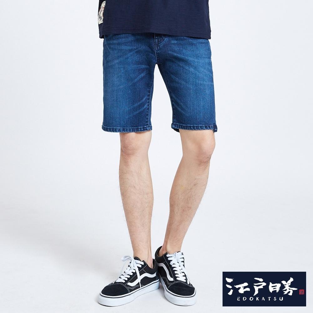 EDO KATSU江戶勝 江戶印繡彈力牛仔短褲-男-石洗藍