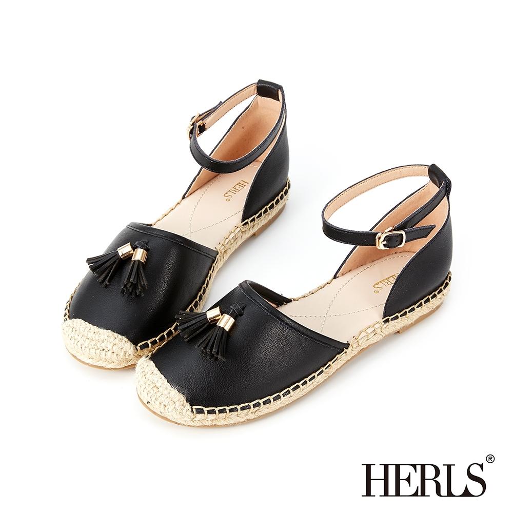 HERLS 輕恬可人 內真皮流蘇踝帶麻底涼鞋-黑色