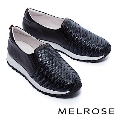 休閒鞋 MELROSE 迷人魅力異材質拼接全真皮厚底休閒鞋-黑