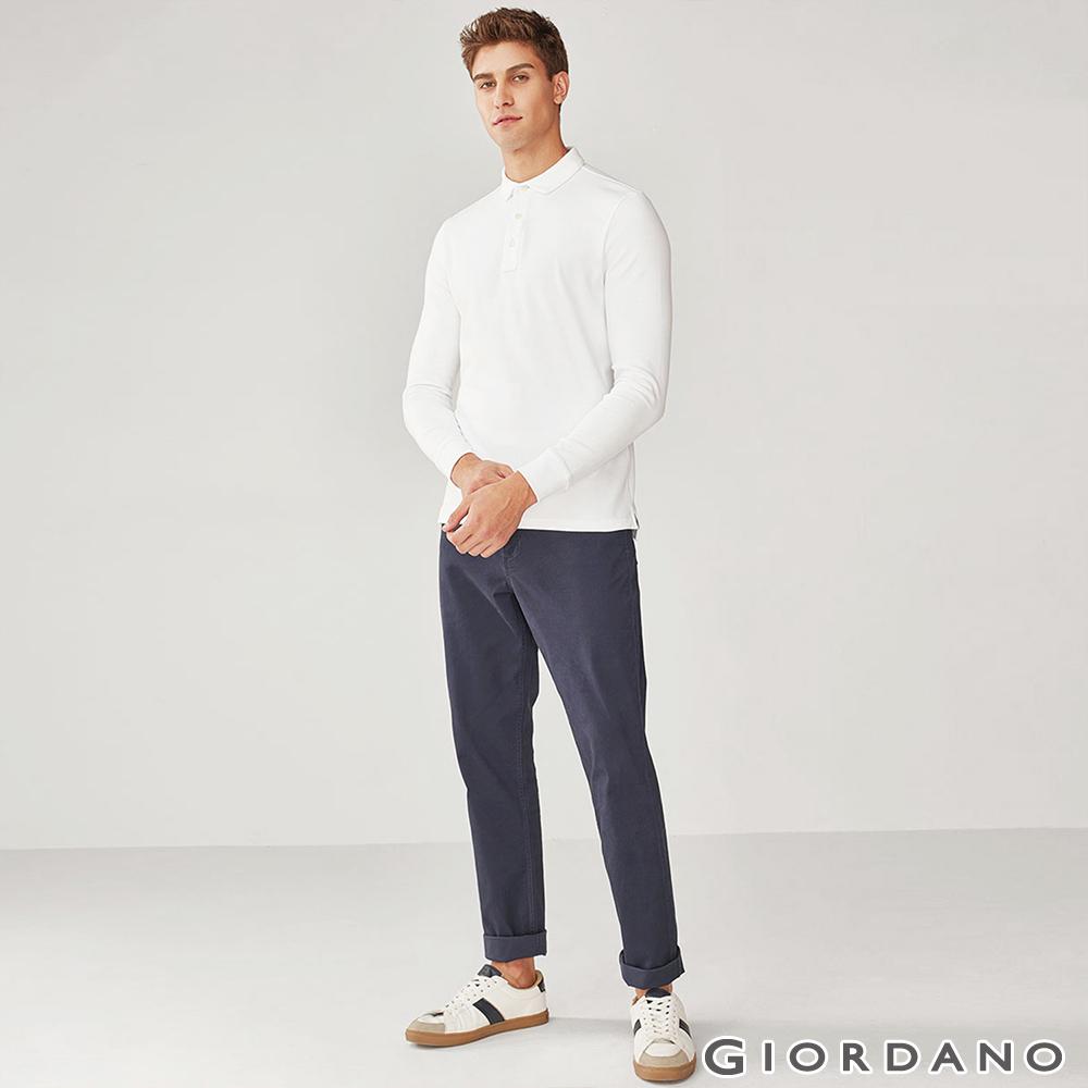 GIORDANO 男裝彈力棉質基本款錐形長褲-66 海軍藍