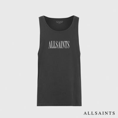 ALLSAINTS STAMP 品牌標語LOGO純棉無袖背心-水洗黑