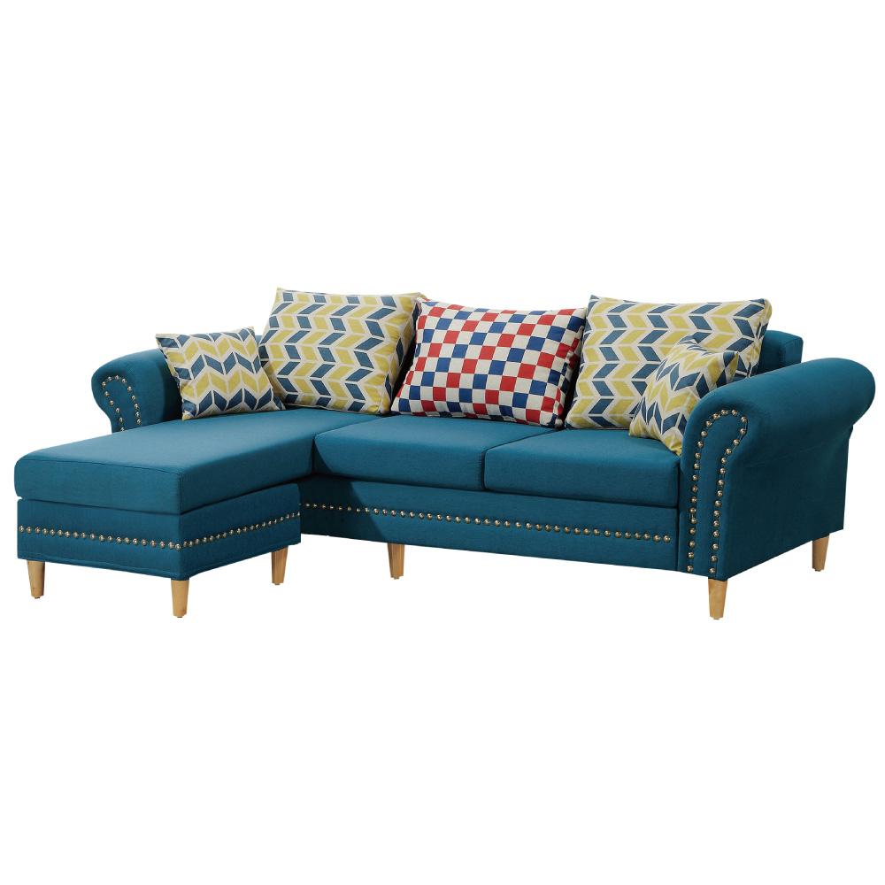 文創集 布西亞時尚藍棉布L型獨立筒沙發組合(三人座+椅凳)-232x145x74cm免組