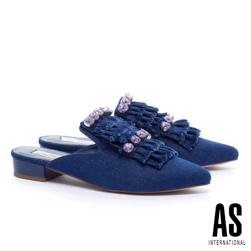 拖鞋 AS 潮流晶鑽抽鬚流蘇造型牛仔布低跟穆勒拖鞋-深藍