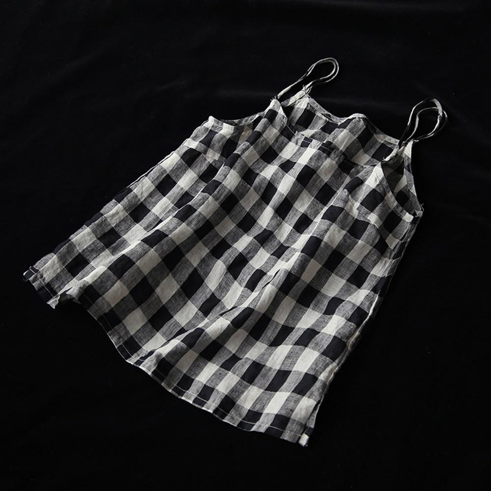 種草格子控亞麻吊帶背心無袖內搭上衣-設計所在