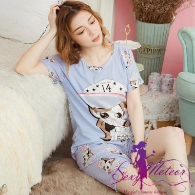 睡衣 全尺碼 棒棒糖牛奶絲短袖二件式睡衣組(甜蜜藍) Sexy Meteor