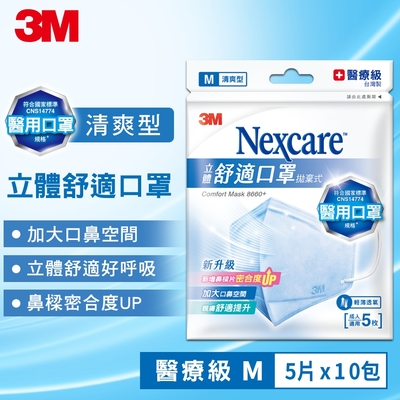 3M 醫用口罩 Nexcare 8660+ 清爽舒適型 (5片x10包)-L/M 尺寸任選