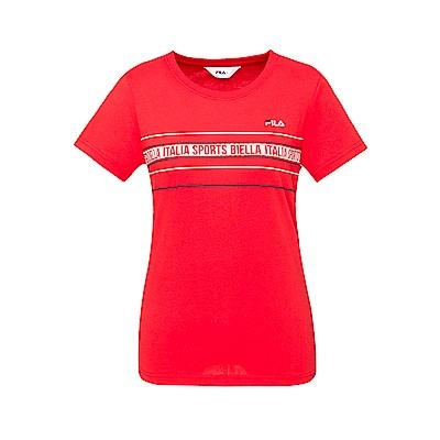 FILA 女款短袖圓領T恤-紅色 5TET-1518-RD
