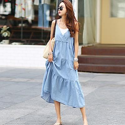 正韓 細肩帶交疊V領荷葉長裙洋裝 (藍色)-N.C21
