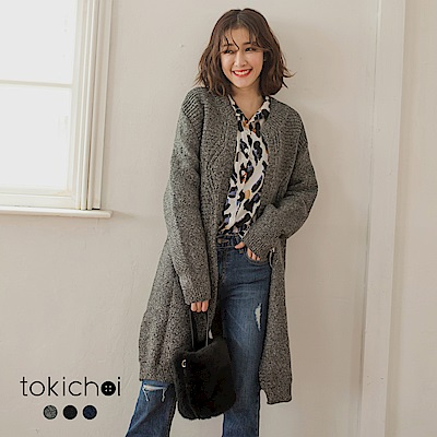 東京著衣 日甜冬日後開岔菱格織紋多色開襟外套(共三色)