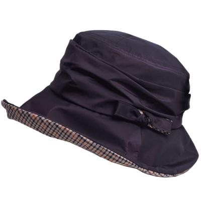 DAKS 日本製抗UV科技纖維格紋蝴蝶結造型遮陽帽(深紫)