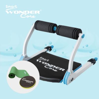 Wonder Core Smart全能輕巧健身機「糖霜藍」三件組(含運動墊-綠+扭腰盤-綠)