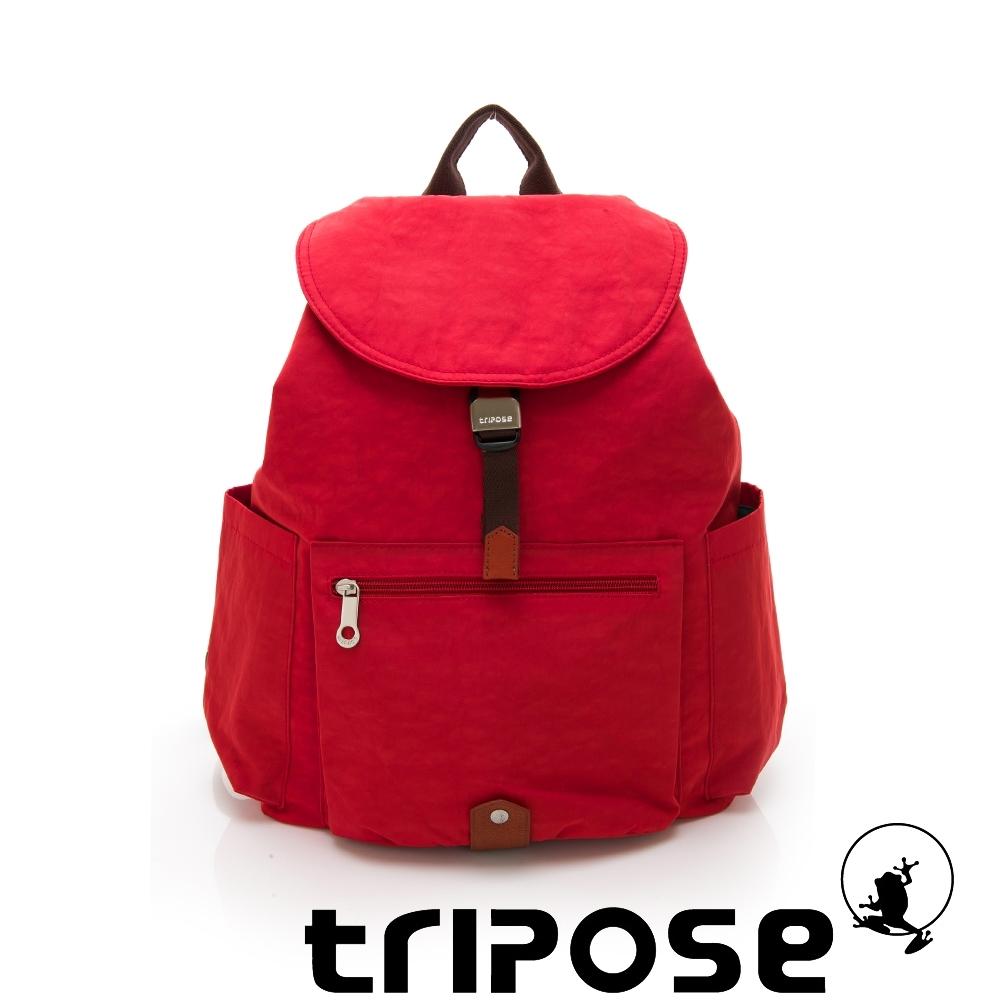 tripose MEMENTO系列微皺尼龍經典輕量後背包(大) 石榴紅